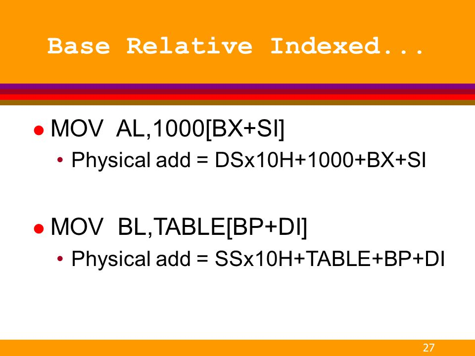 Base Relative Indexed... MOV AL,1000[BX+SI] MOV BL,TABLE[BP+DI]